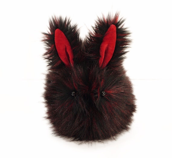 Midnight the Black and Red Valentine Bunny Rabbit Stuffed Animal  Plush Toy - 6x10 Inches Large Size