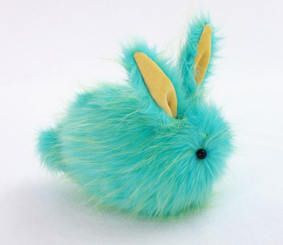 Benjamin Bunny Aqua Faux Fur Stuffed Toy Plushie - Large Size