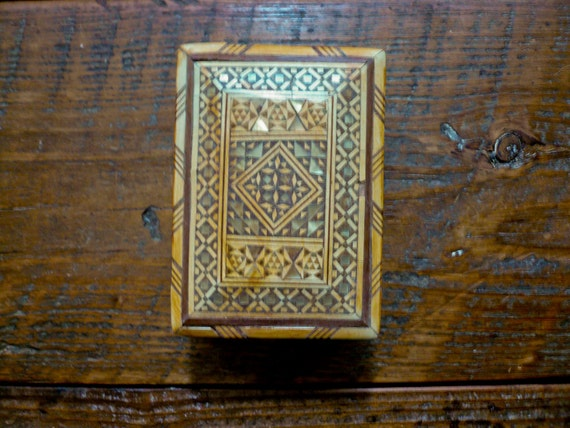 Mother of Pearl and Wood Inlay Marquetry Syrian Jewelry or Spirit Box