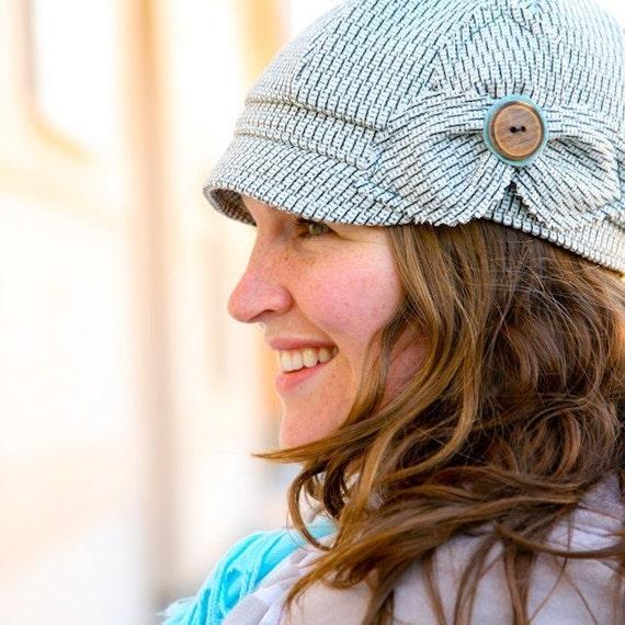 Etta Hat- white and grey novelty weave wool- size MEDIUM