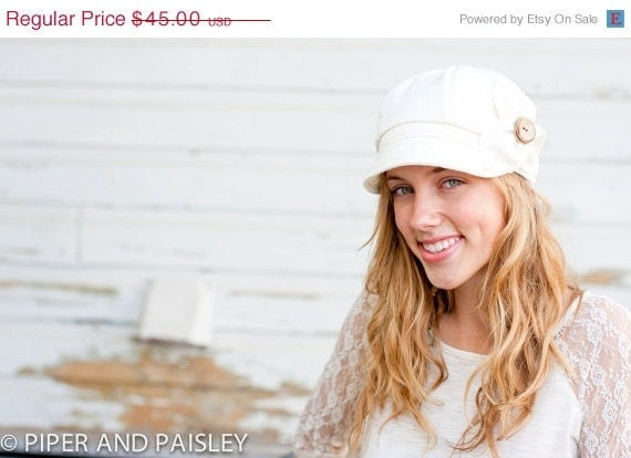 WINTER SALE Etta Hat- ivory jacquard wool- size Medium.