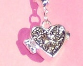 sterling silver 18 inch serpentine chain with heart prayer box pendant