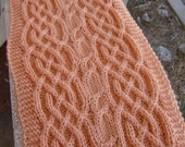 Pattern for a Saxon braid and lush cable long neck scarf - medium knitter