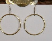 """Large golden hoops on 22k gold ear wires apx dangle 2.5"""""""