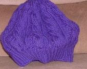 Original designed hand knitted cabled Greece beret in royal purple hat/tam/beret