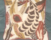 hand sewn and needled pointed feather pillow apx 14 x 14 inches made in 1977