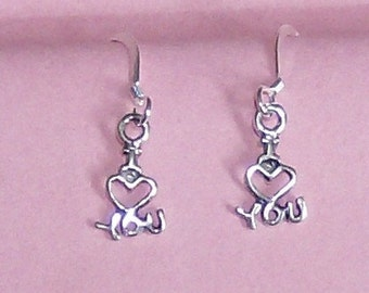 sterling silver I love you charm in sterling silver ear wires earrings