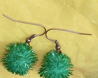shimmering green balls with copper ear wire
