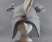 Rhino Horns Grey Earflap Beanie Animal Fleece Hat Anime Lolita Cosplay Skiing Snowboarding Gothic Punk AVIATOR