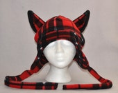 Red Schoolgirl Plaid Cat Earflap Beanie Animal Fleece Hat Anime Lolita Cosplay Skiing Snowboarding Gothic Punk AVIATOR