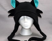 Black Cat turquoise Whiskers Ears Cute Fleece Beanie Hat Cosplay Anime Skiing Snowboarding Gothic Rave Punk Winter Cute Aviator