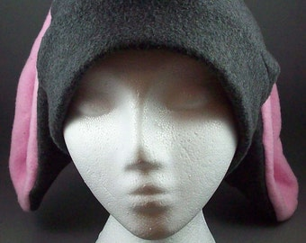 Bunny Rabbit Hat Long Ears Grey and Pink Skiing Snowboarding Cosplay Anime Fleece