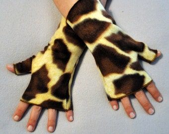 Giraffe Fingerless Gloves Hand Warmers Fleece Gothic Vampire Funk Noir Tribal