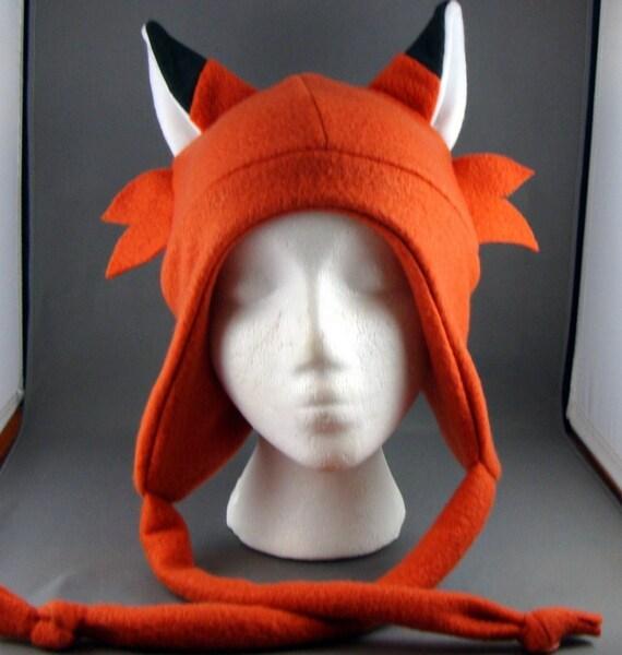 Whisker Fox Deep Orange AVIATOR Animal Beanie Fleece Hat Winter Warm Cute Fun Skiing Snowboarding Cosplay Anime Earflap with Drawstrings