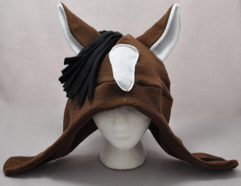 New Style Horse Brown Black Mane White Shop Ears Animal Fleece Hat Skiing Snowboarding Gothic Rave & New Style Horse Brown Black Mane White Shop Ears Animal Fleece Hat ...
