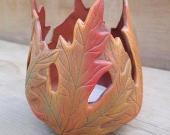 Maple Leaf Candle Holder - Ceramic Candle holder - Autumn Wedding Decor - Fall Leaf Candle Holder - Fall Wedding Decor - Autumn Centerpiece
