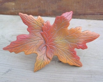 Maple Leaf Decoration - Ceramic Leaves - Fall Leaf Decor - Autumn leaves - Fall Decor - Colorful Leaves - Halloween Decor- Rustic Fall Decor