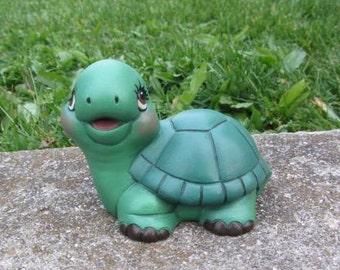 Cute Ceramic Turtle - baby room decor - nursery decoration - baby turtle - smiling turtle - baby shower gift - cake topper - yard art