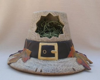 Thanksgiving Centerpiece - Pilgrims hat - Thanksgiving decoration - Fall Decor - Autumn display - Pilgrim decor - Christmas in July Sale