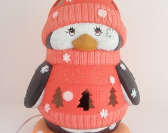 Ceramic Penguin light -  Winter Night Light - Lighted Penguin - Penguin Decor -  Made to Order Penguin - Cute Winter Decor