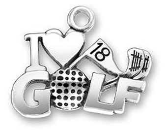 I Love Golf Sterling Silver Charm