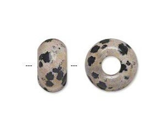 Dalmatian Jasper - 1 Natural Gemstone Big Hole Bead for add a bead chains