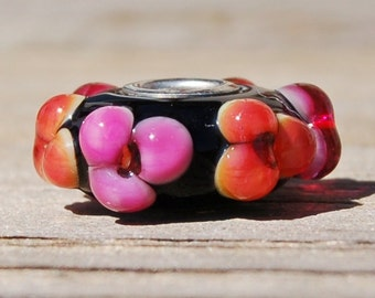 Hot Tropical Blooms - K O Lampwork - 1 Sterling Silver Cored Lampwork Bead for add a bead european charm style chains