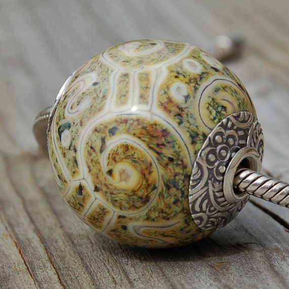 Primitive Stone Raku - Silver Cored 'n Capped K O Lampwork Big Hole Bead for Add A Bead Chains
