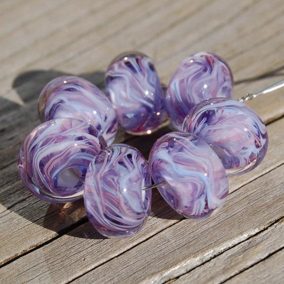 Lavender Breeze - Set of 7 Encased Lampwork Beads - Dan O Beads