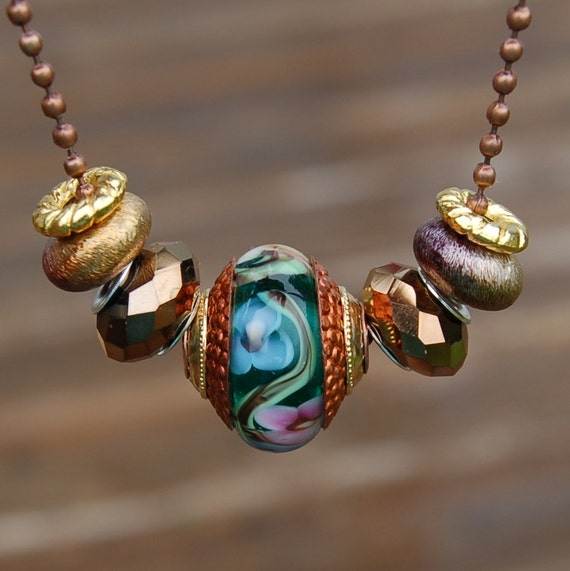 Rustic Garden - Copper Cored 'n Brass Capped K O Lampwork Bead for Add A Bead European Style Chains