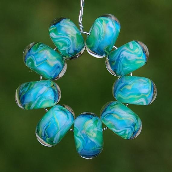 Tropical Pleasures - Set of 9 Encased Lampwork Beads - Dan O Beads