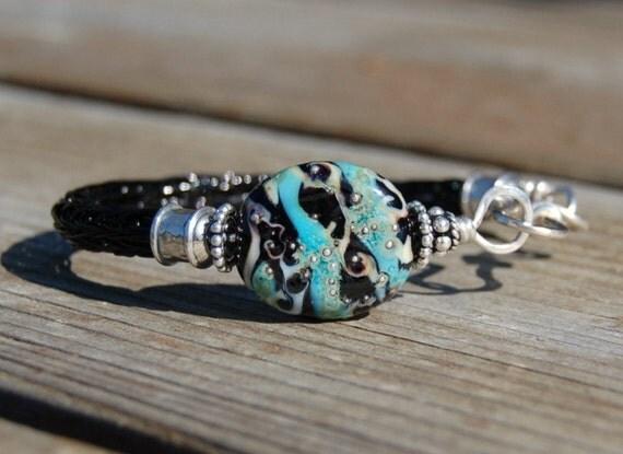 K O Lampwork - Sterling Viking Knit Bangle Bracelet - Midnight Surf