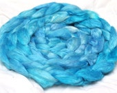 Turquoise Blue Hand Dyed Tussah Silk Top Roving 2 Ounces