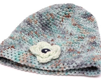 Adult Flower and Scallop Edge Hat Crocheted of Hand Dyed Merino