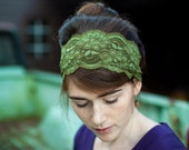 WINTER GREEN stretch lace headband hair head wrap scarf covering headcovering