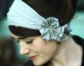 stretch GRAY HEATHER Rosette hair wrap headband headcovering head band piece