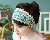 Juniper Cotton lace trimmed head covering hair wrap headband headcovering