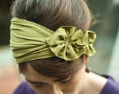 Rustic Green stretch Rosette wrap hair headband womens Fall Winter acessory