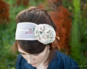 Warm Vanilla carnation headband in Vintage Cotton womens covering hair accessory