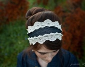 shabby chic Stretch denim and lace headband hair band accessory for autumn winter