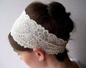 PURE white STRETCH Lace Headband headwrap hair band