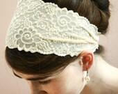 IVORY STRETCH Lace Headband head hair band wrap