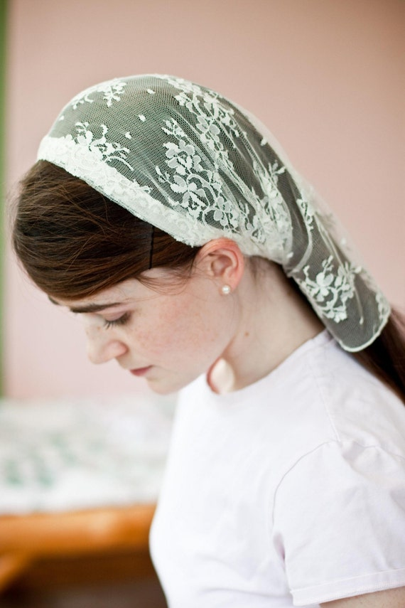 headband hair styles delicate lace headcovering prayer veil wedding scarf 2467 | il 570xN.140729417