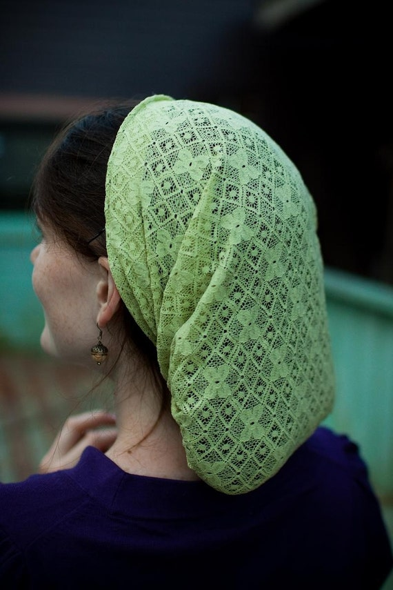 Megs lace Snood in PEAR headcovering prayer covering headband head wrap