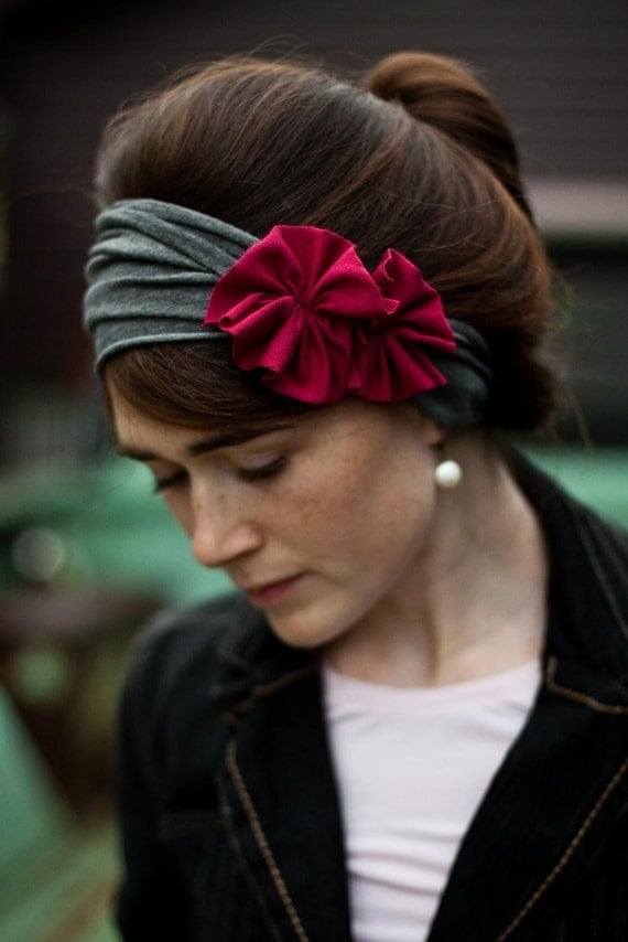 Charcoal and raspberry Rosette Stretch headband- Garlands of Grace classic winter