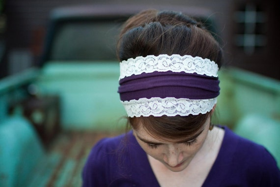 headband hair styles stretch trimmed in plum headcovering hair covering band 2467 | il 570xN.192603567