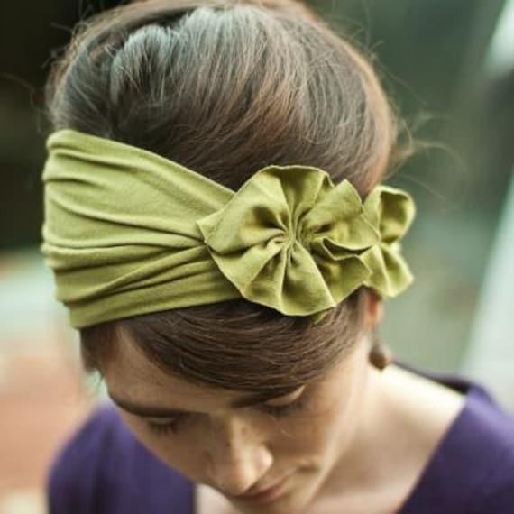 Rustic Green stretch Rosette wrap hair headband womens Fall Winter acessory