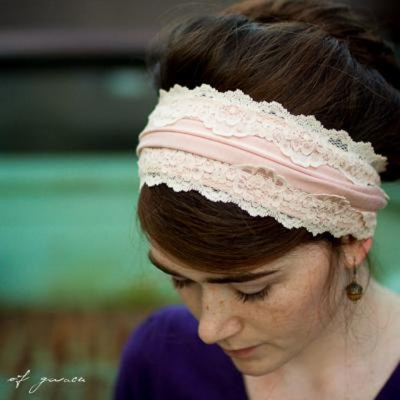 Vintage stretch and lace headband in Rose head hair acessory cowl