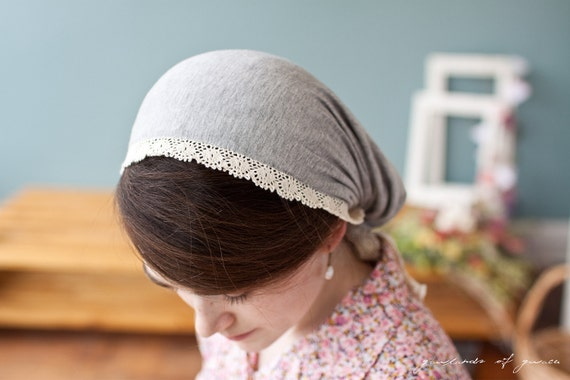 Victorian style snood covering in Heather gray-- Garlands of Grace classic stretch covering
