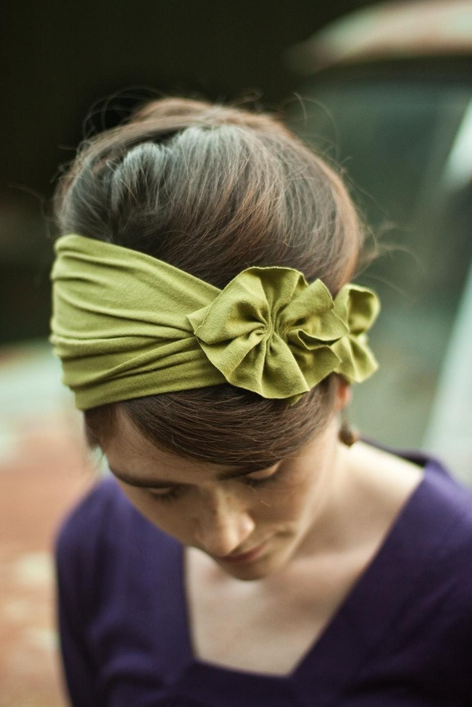 headband hair styles stretch rosette in rustic green garlands of grace headband 2467 | il fullxfull.195404761